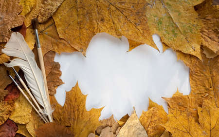 Frame from autumn leaves and goose quill and brushes photo