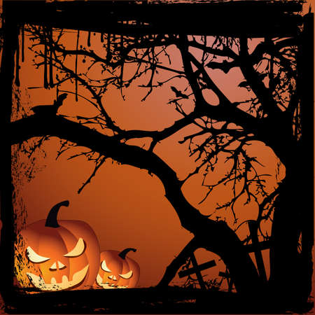 Halloween vector illustration scene with  pumpkin and tree Vector