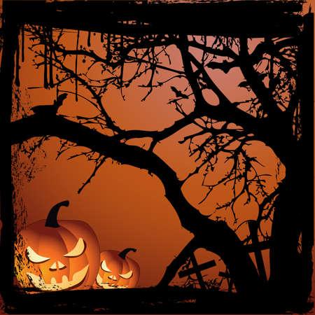 Halloween vector illustration scene with  pumpkin and tree Vector