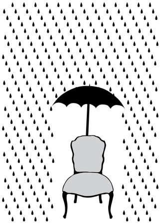 chair vector: pioggia e ombrello sulla sedia, illustrazione vettoriale Vettoriali