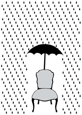 rain and umbrella over chair, vector illustration Stock Vector - 5820667
