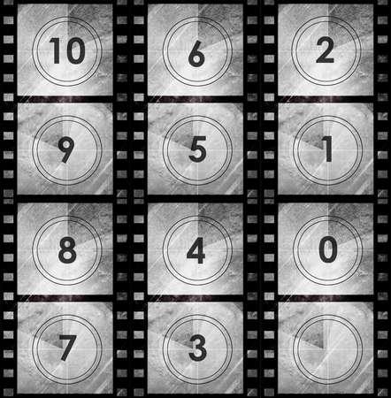 Grunge film countdown in dark color grunge style photo