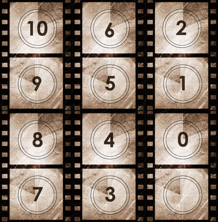 Grunge film countdown in dark color grunge style photo
