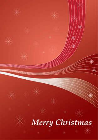 Red Christmas background with lines snowflakes vector illustration Vector