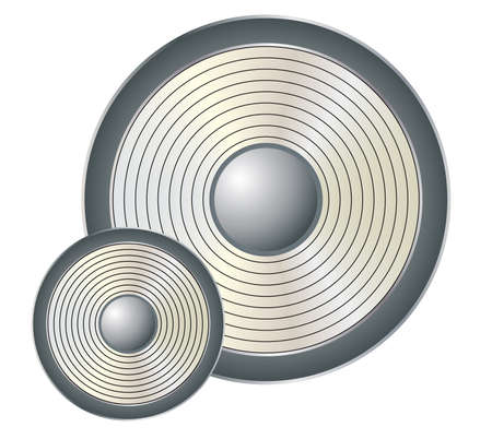 Silver music speaker over white background. Illustration Vector