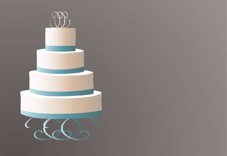 wedding cake illustration: Traditional wedding cake on a brown background illustration
