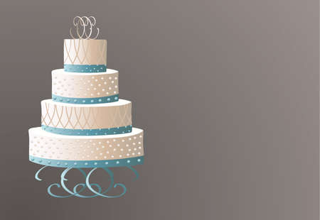 bridal party: Traditional wedding cake on a brown background illustration