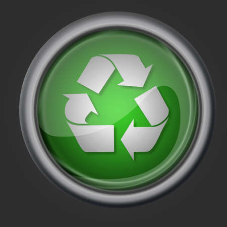 wastes: recycle button icon symbol illustration on black