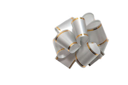 Bow silver with golden line on white background Stock Photo - 5951058
