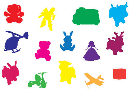 multicolored toys silhouette vector illustration on white background Vector