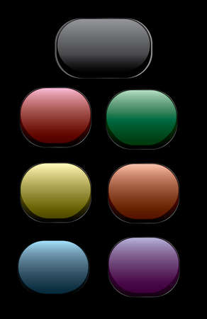 silver frame: collection of vector buttons with silver frame Illustration