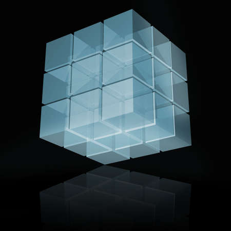 abstract transparent cube with reflection 3d illustration
