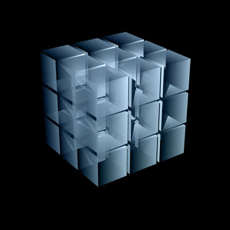 abstract transparent cube in light blue color 3d illustration Stock Illustration - 6028768
