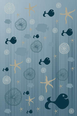 cute background with flower fish star and whale Vector