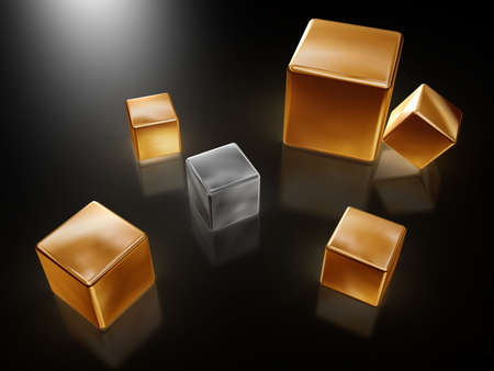 contestant: six golden silver cubes with reflection on dark background