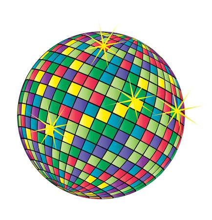 funny disco ball vector illustration on white background Stock Vector - 6088424