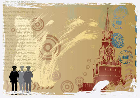 the kremlin: vector post card design with moscow kremlin
