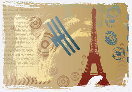vector illustration with eiffel tower and plane Stock Vector - 6088444