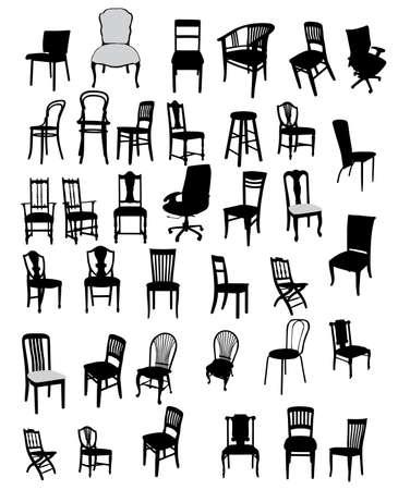 kitsch: set of antique and modern furniture illustration Illustration