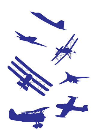 Airplanes silhouettes set blue and white color Vector