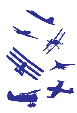 Flugzeuge Silhouetten einstellen blaue und weiße Farbe  Standard-Bild - 6088447