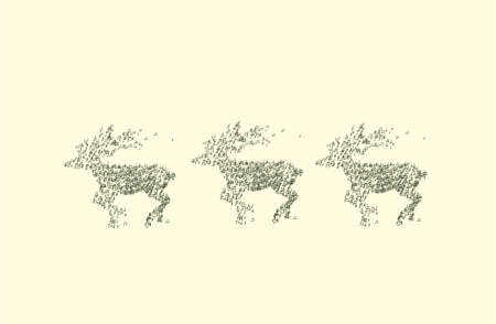 antlers silhouette: Christmas deer via different music notes on light background