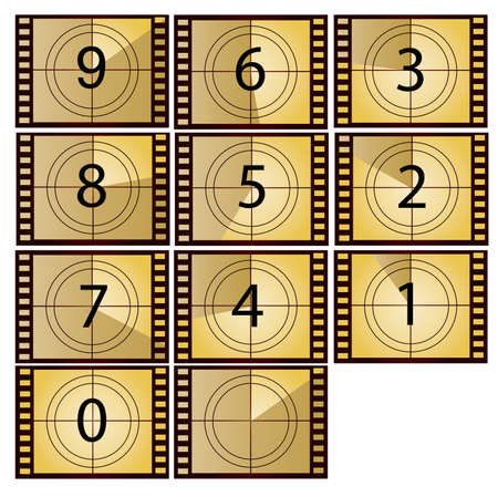 countdown: film countdown in yellow color beauty style Illustration