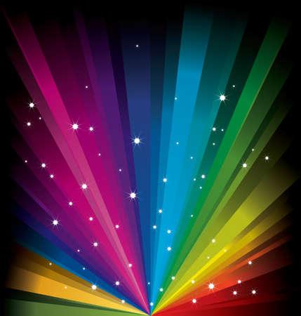 Magic radial Rainbow Light with white Stars