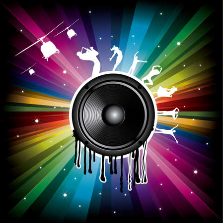 Magic Rainbow Party background with speaker and dancer Vector