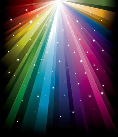 Magic radial Rainbow Light with white Stars Stock Vector - 6174537
