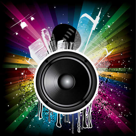 Magic Rainbow Party background with speaker and houses Stock Vector - 6174539