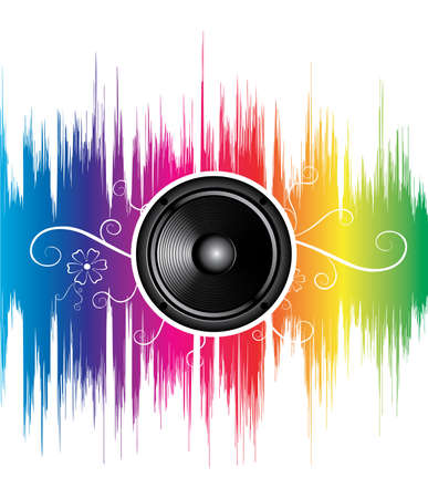 speaker with floral ornament on rainbow wave Stock Vector - 6182221