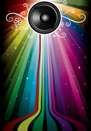 discoteque: speaker with floral ornament and star on rainbow background