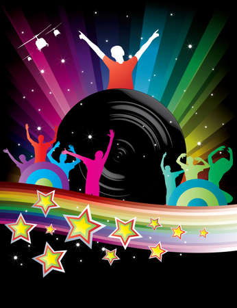 Abstract Rainbow Disco Background with stars and dj Vector
