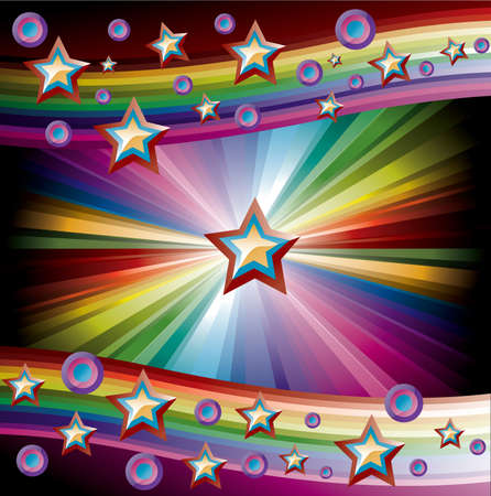 Rainbow Music Background for Disco flyers with stars and circles Vector