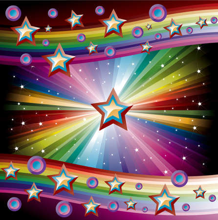 Rainbow Music Background for Disco flyers with stars and circles Illustration
