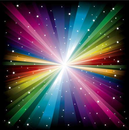 Magic radial Rainbow Light with small white Stars
