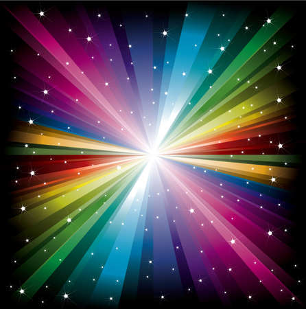 white star line: Magic radial Rainbow Light with small white Stars
