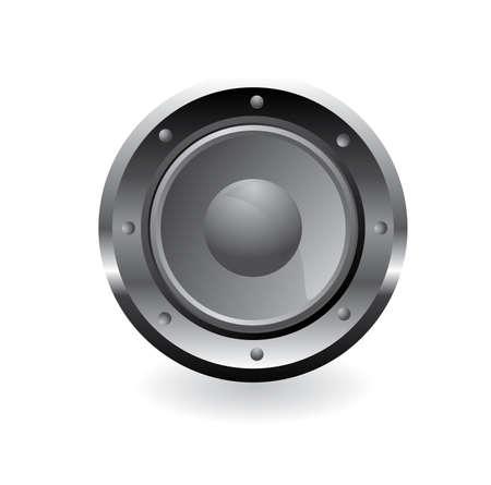 Metal Audio speaker silver color on white Vector Stock Vector - 6239228