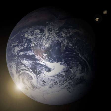 Earth blue planet in space with star photo