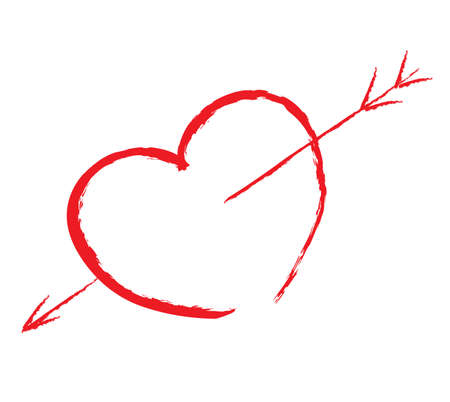 fondness: isolated red heart pierced by arrow write by hand