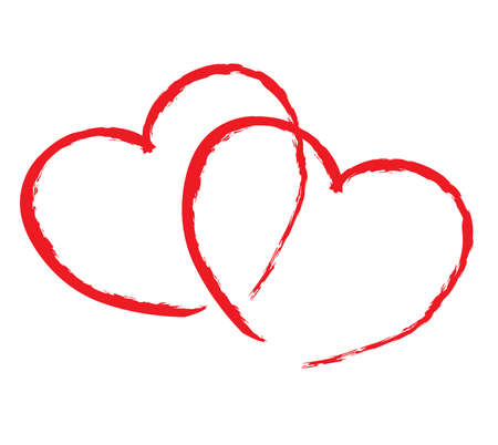 enamoured: isolated two red hearts write by hand