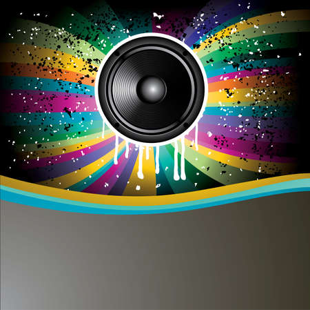 Rainbow Colorful Discotheque background with speaker Vector
