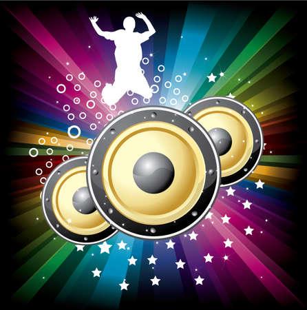 Coole Musik bunte Disco Hintergrund mit Jumper und goldenen Lautsprecher Standard-Bild - 6356113