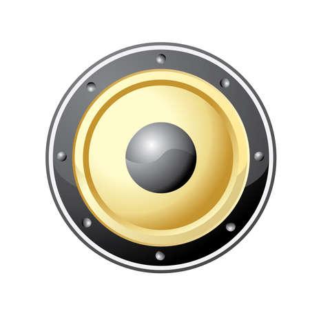 loud speaker: Vector illustration of golden loud speaker isolated