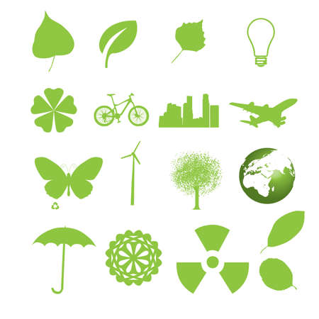 Set of ecology icons for web in green color Vector