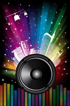 Rainbow Disco Background with city and music equalizer