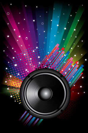 Rainbow Disco Background with speaker and stars Vector