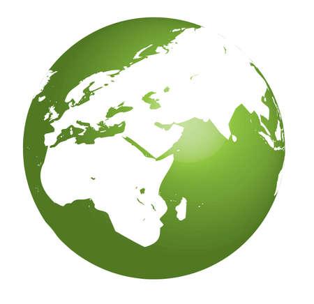 terra: Green Earth vector illustration on white background