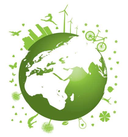 Green Earth concept vector illustration on white  Stock Vector - 6356131